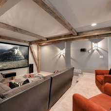 Transitional Home Theater by Divine Custom Homes