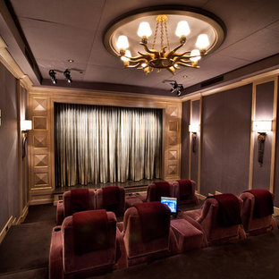Inspiration for a timeless enclosed home theater remodel in Los Angeles