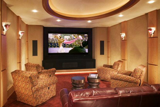 Rustic Home Theater by Karlene Hunter Baum, Allied ASID
