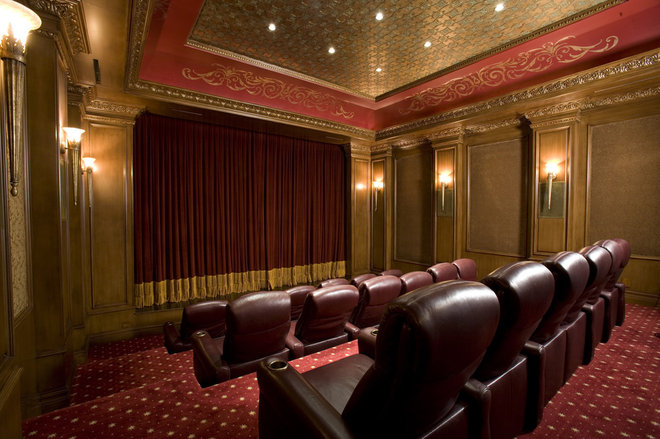 Traditional Home Theater by Macaluso Designs, Inc.
