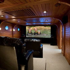 Contemporary Home Theater by Oceanside Builders, LLC.