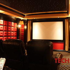 Mediterranean Home Theater by Techteriors, LLC