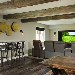 Inspiration For A Large Transitional Open Concept Vinyl Floor Home Theater  Remodel In Minneapolis With Gray