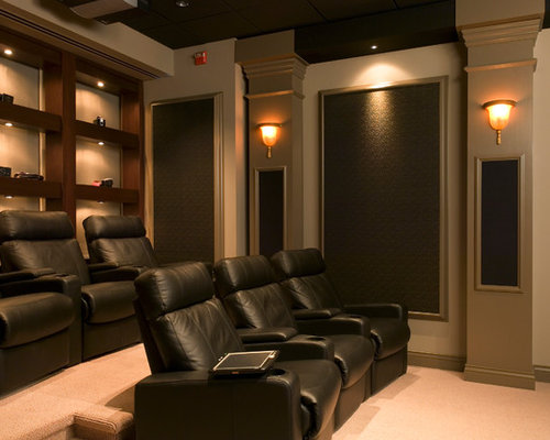 Best 100 Home Theater with a Projector Screen and Purple Walls ...