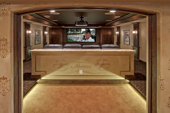 Traditional Home Theater by Schrader & Companies