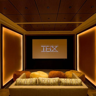 Small Transitional Enclosed Medium Tone Wood Floor Home Theater Photo In  San Francisco With Multicolored Walls