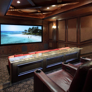 Inspiration for a large transitional home theater remodel in Dallas
