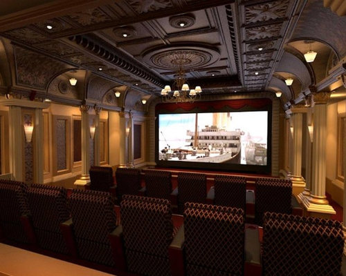 excellent home theater ideas. Large ornate enclosed home theater photo in Oklahoma City with beige walls  and a wall Our 50 Best Victorian Home Theater Ideas Remodeling Pictures Houzz