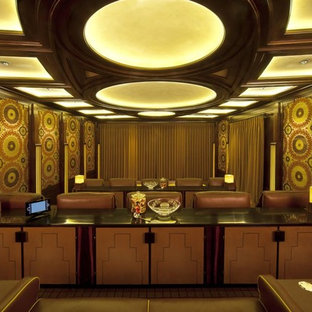 Example of an eclectic home theater design in Los Angeles