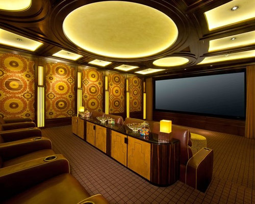 Home Theater   Eclectic Home Theater Idea In Los Angeles With A Projector  Screen