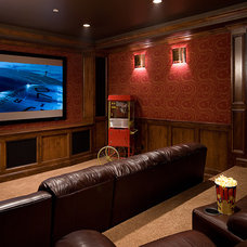 Traditional Home Theater by Julie Dreiling Interiors, LLC