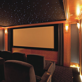 Example of a classic enclosed carpeted home theater design in San Francisco