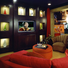 contemporary media room by Michael Trahan Interior Design