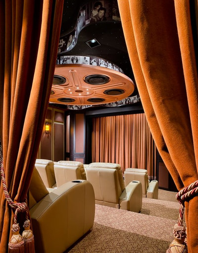 Contemporary Home Theater by W.A. Bentz Construction, Inc.