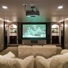 Transitional Home Theater by Damon Searles Photography