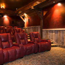 Rustic Home Theater by Trestlewood