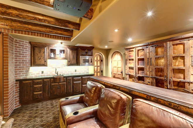 Eclectic Home Theater by Professional Design Consultants
