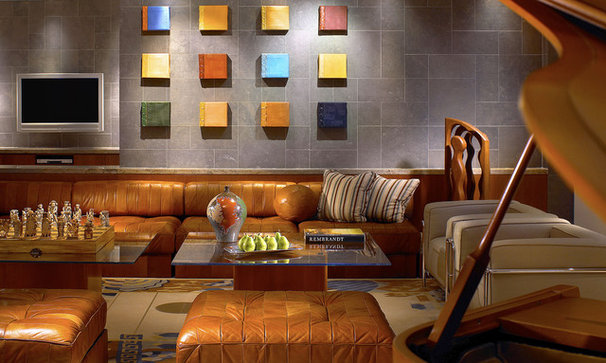 Contemporary Home Theater by Grossman Photography