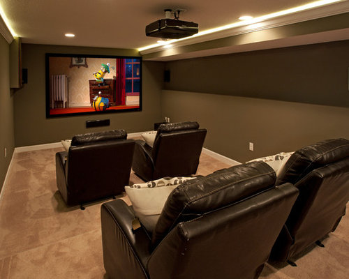 simple home theater ideas. traditional enclosed beige floor home theater idea in minneapolis with a projector screen and gray walls simple ideas l