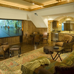 traditional media room by CB Construction Company