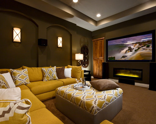 Projector Screen Over Fireplace Home Design Ideas