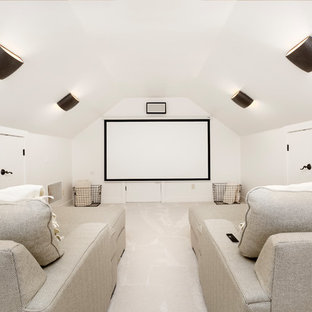 Example of a mid-sized trendy enclosed carpeted and beige floor home theater design in Salt Lake City with white walls and a projector screen