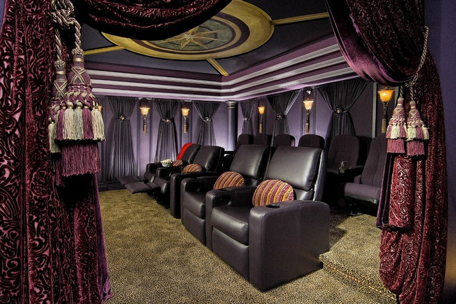 Traditional Home Theater by KARLA TRINCANELLO-CID - INTERIOR DECISIONS, INC.