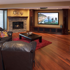 contemporary media room by Atlas Hardwood Floors Inc.