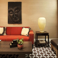 asian media room by Evelyn Benatar, New York Interior Design