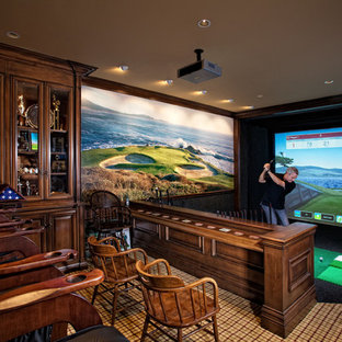 Example of a tuscan home theater design in Orange County
