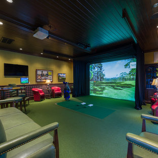 Photo of an eclectic home theatre in Charlotte.