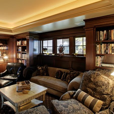 Traditional Home Theater by Laurie Kertis, Ltd.