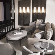 Transitional Home Theater by Linda McDougald Design | Postcard from Paris Home
