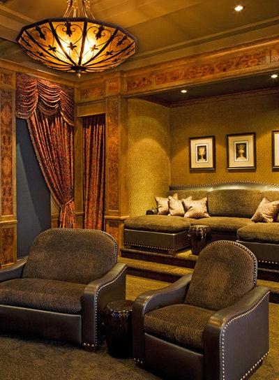 Mediterranean Home Theater By Vanguard Studio Inc