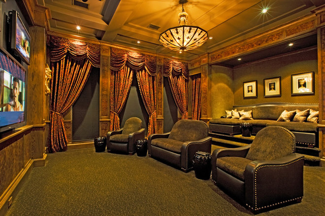 Mediterranean Home Theater by Vanguard Studio Inc.