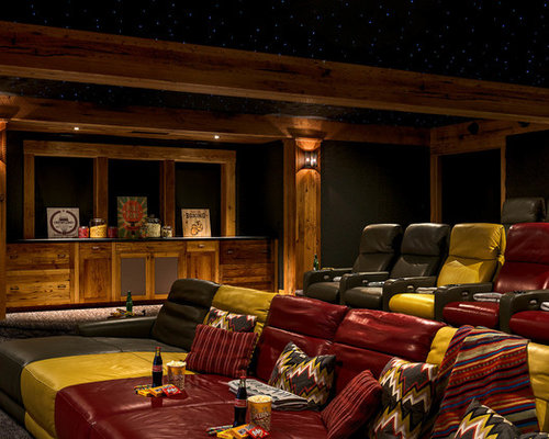 media room furniture ideas. Mountain Style Enclosed Carpeted Home Theater Photo In Boston With Black Walls Media Room Furniture Ideas