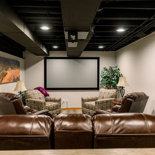 Inspiration For A Contemporary Home Theater Remodel In Cleveland With White Walls And Projector Screen