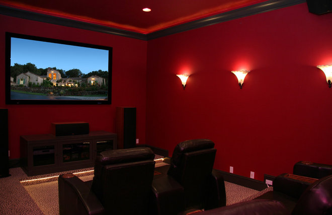 Contemporary Home Theater by Landmark Builders