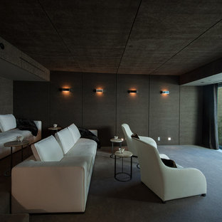 Inspiration For A Modern Enclosed Carpeted Home Theater Remodel In Los  Angeles With A Projector Screen