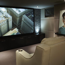 Contemporary Home Theater by Robyn Clarke + Co
