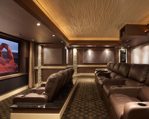 38 Illuminated Recess Bulkhead Ceiling Home Theater Design Photos
