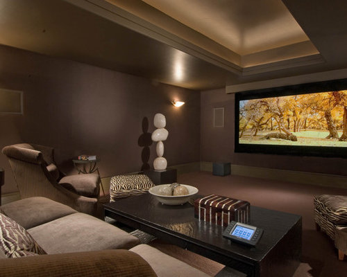 basement media room | houzz