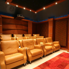 contemporary media room by Bellisa Design