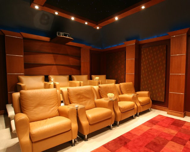 Traditional Home Theater by Bellisa Design