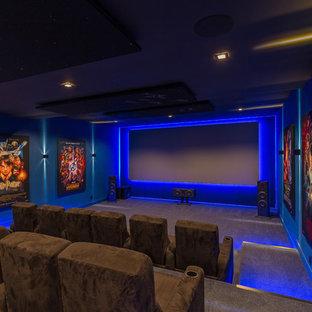 75 Most Popular Modern Blue Home Cinema Design Ideas For 2019