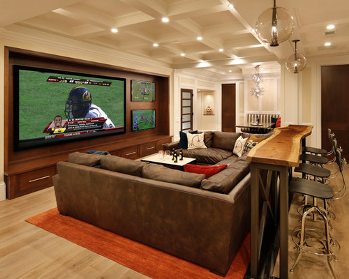 Inspiration For A Timeless Home Theater Remodel In San Francisco With A  Wall Mounted Tv