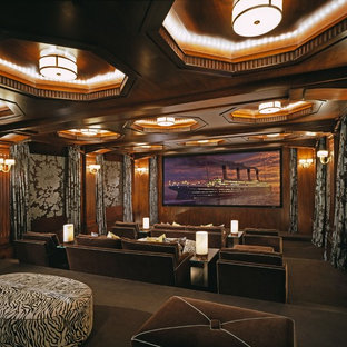 Elegant Home Theater Photo In Los Angeles With A Projector Screen