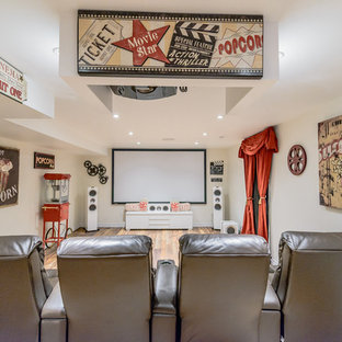 Inspiration for a large rustic enclosed light wood floor home theater remodel in Toronto with white walls and a projector screen