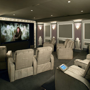 Example of an eclectic home theater design in Philadelphia