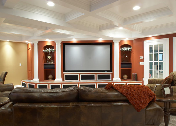 Traditional Home Theater by M.J. Whelan Construction